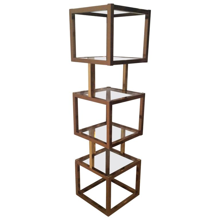 brass gold and rose copper cube square etagere vintage glass shelves mixed metals at 1stdibs. Black Bedroom Furniture Sets. Home Design Ideas