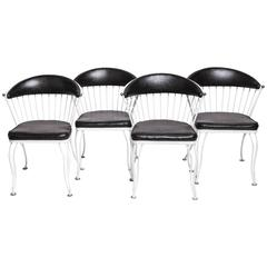 Set of Four Mid-Century Wrought Iron Chairs