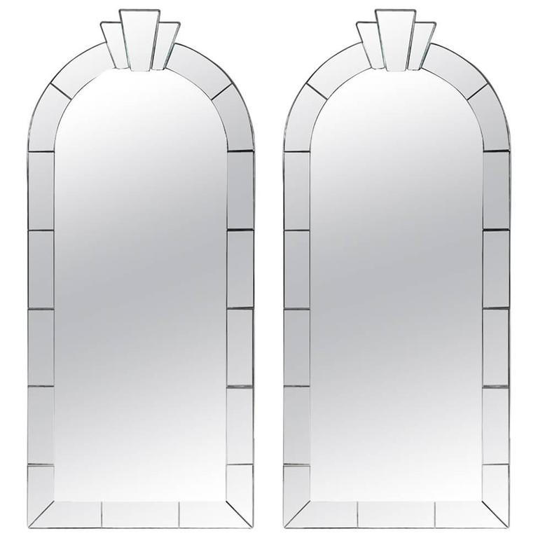 Pair of Dome Top Art Deco Style Mirrors by Karl Springer For Sale