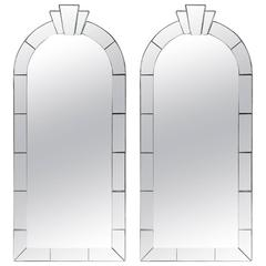 Pair of Dome Top Art Deco Style Mirrors by Karl Springer