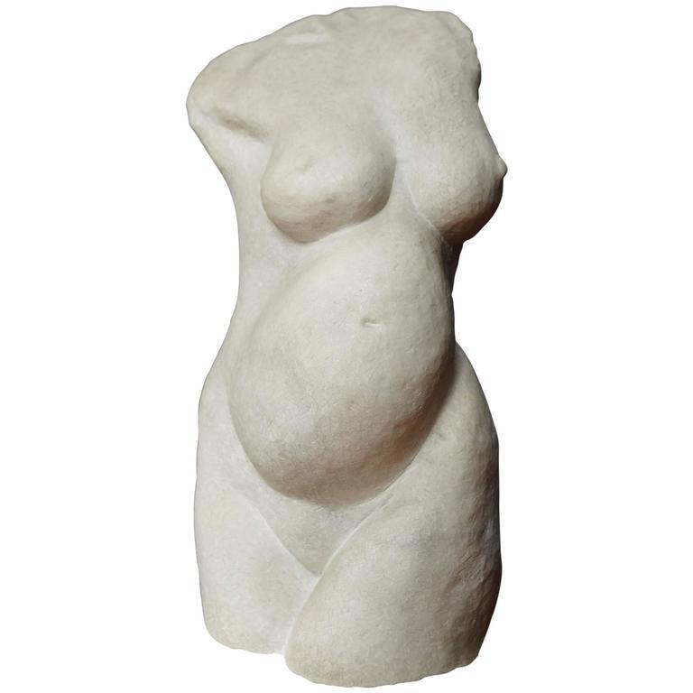 """Bona Dea"" Modern White Carrara Marble Sculpture by Dolores Singer, 1983"