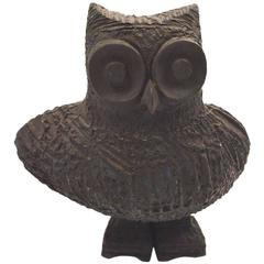 Brutalist Stoneware Pottery Owl by Margot Kempe