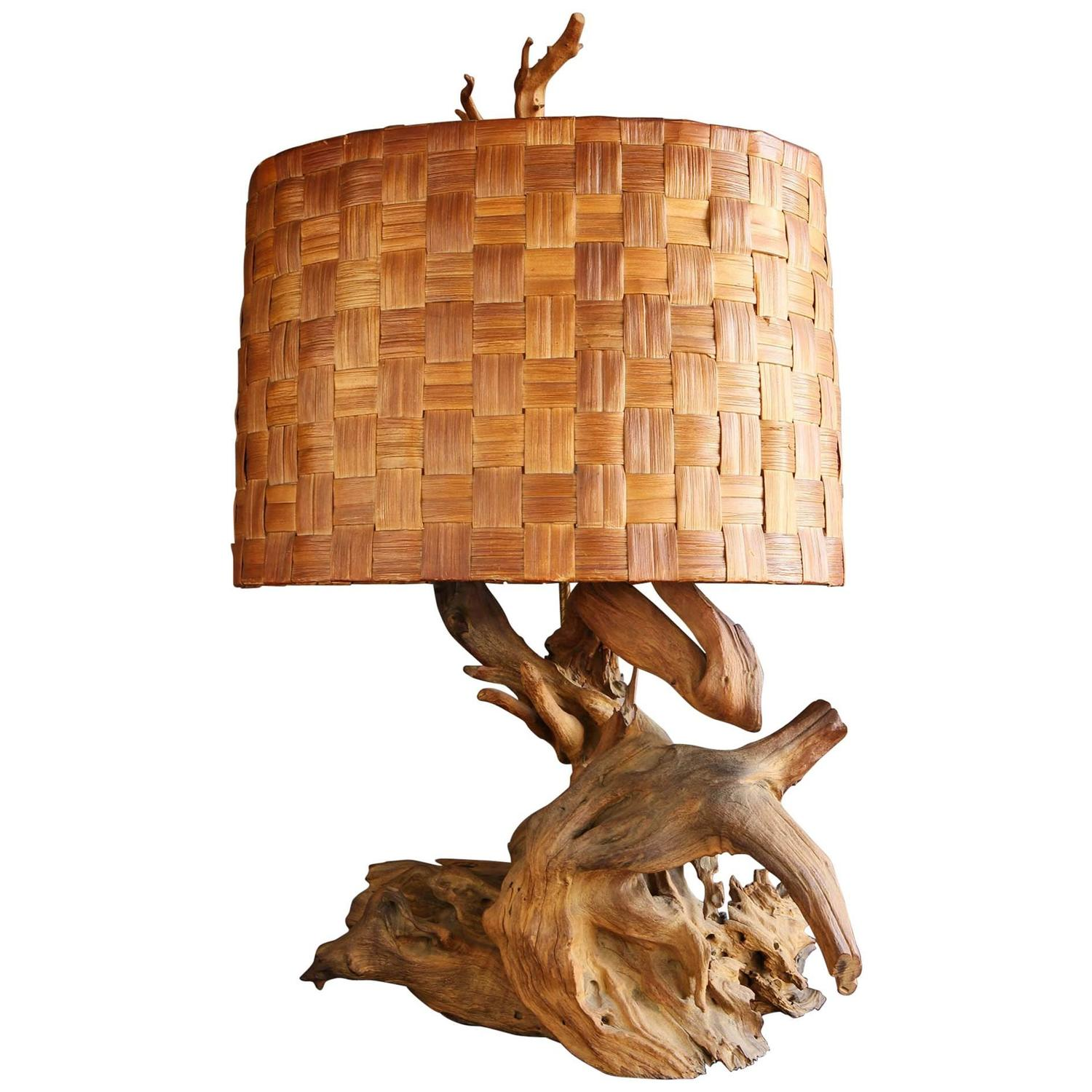 driftwood table lamp with woven shade for sale at 1stdibs. Black Bedroom Furniture Sets. Home Design Ideas