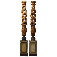 Pair of 17/18th Century Carved Italian Baroque Open Solomonic Giltwood Columns