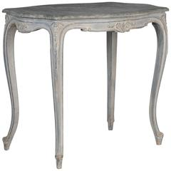 French Painted and Carved Blue Side Table