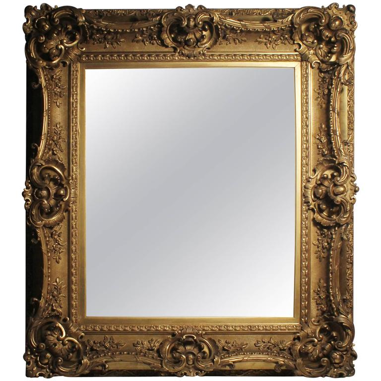 Antique italian gilt 19th century picture frame or mirror for Rococo style frame