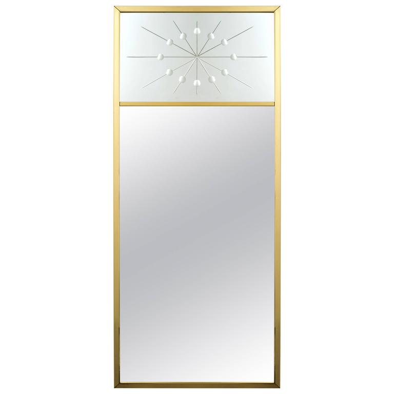 1960s Tommi Parzinger Style Brass Wall Mirror with Atomic Design Motif