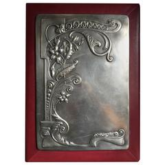 Russian Silver-Mounted Red Morocco Leather Portfolio, 1908-1917