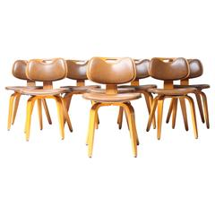 Set of Eight Mid-Century Dining Chairs by Thonet
