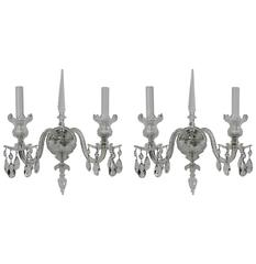 Pair of Georgian Style Cut Crystal Sconces with Silvered Bronze Fittings