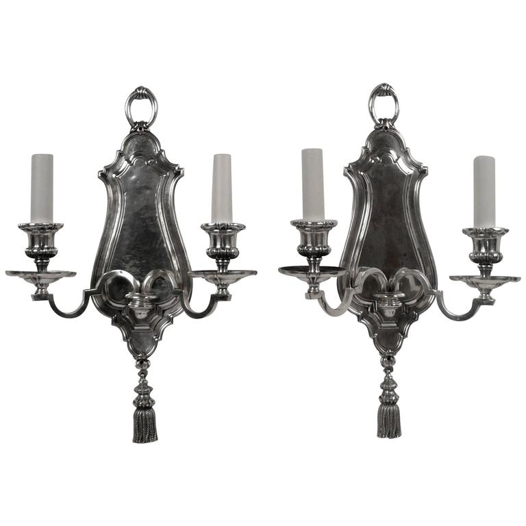 Pair of Early Georgian Style Two-Light Sconces by E. F. Caldwell For Sale