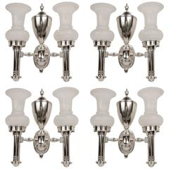 Set of Four Argand Style Two-Light Sconces