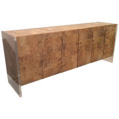 Vintage Faux Burl Wood & Lucite Credenza Cabinet Buffet Dresser Patchwork 6 Door