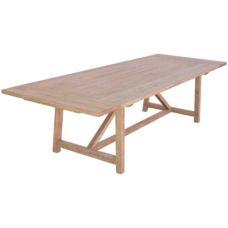 Petersen Antiques expandable farm table in reclaimed heart pine, new