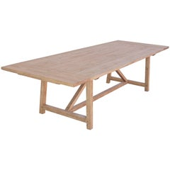 Expandable Farm Table in Reclaimed Heart-Pine, Custom Made by Petersen Antiques