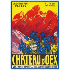 Vintage Swiss Alps Travel Poster by F. Gos for Chateau d'Oex–MOB Railroad