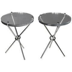 Pair of Campaign Style Chrome and Lucite Side Tables