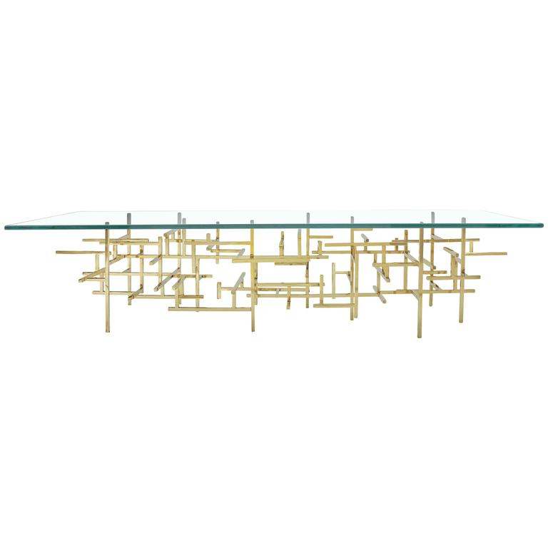 Maya Geometric Brass and Glass Cocktail Table For Sale