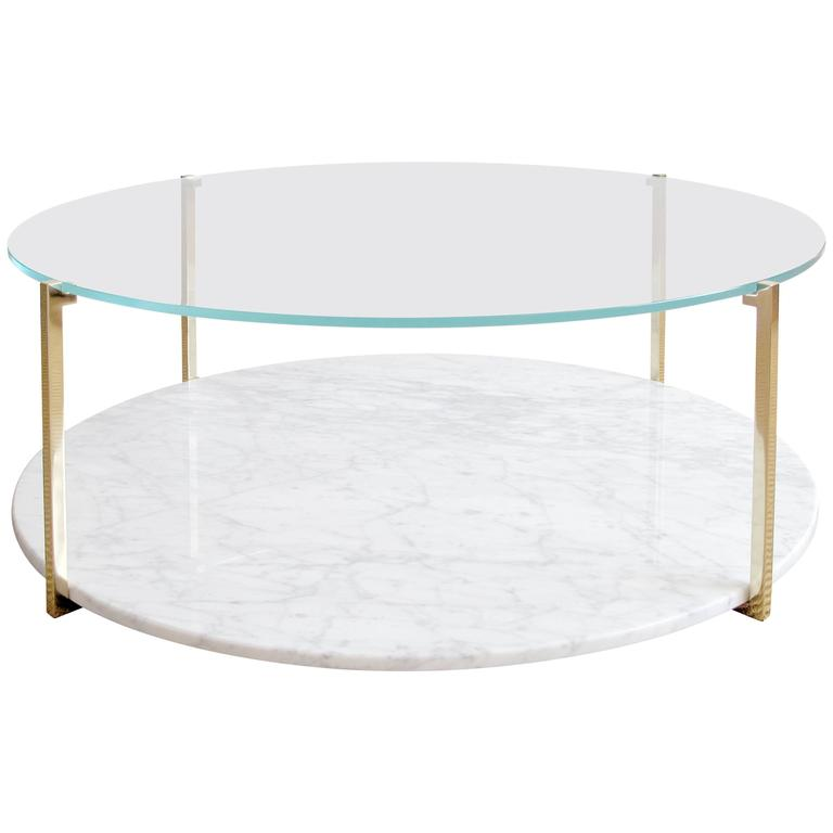 Arturo Round or Oval Polished Brass and Marble Cocktail Table For Sale