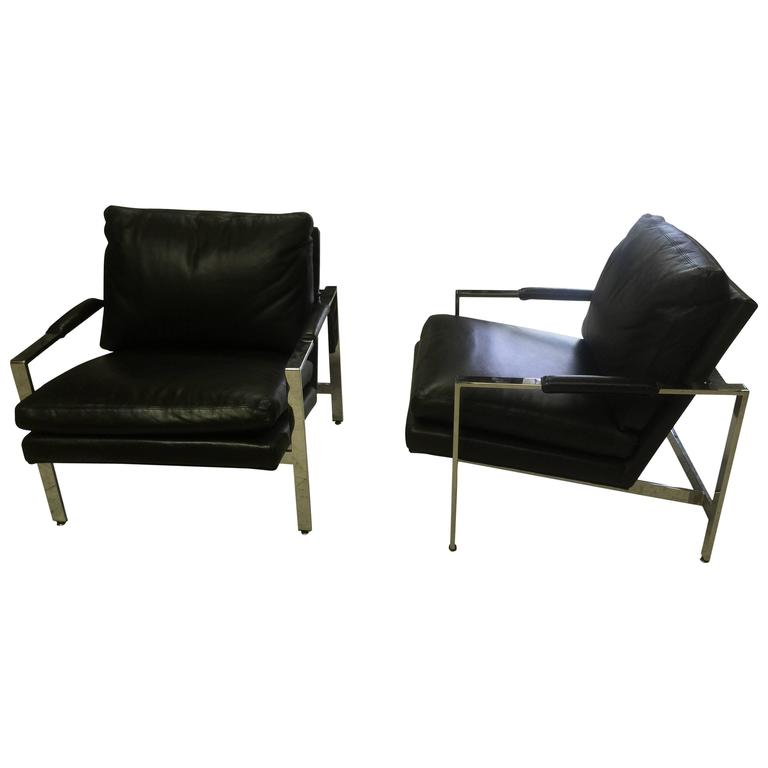 Pair Of Flat Bar Lounge Chairs By Milo Baughman For Thayer Coggin For Sale