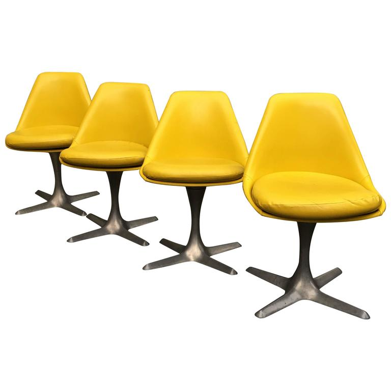 Yellow Dining Chairs: Four Maurice Burke For Arkana Yellow Dining Chairs For