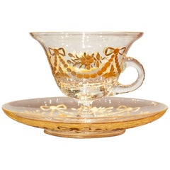 Engraved and Gilt Glass Punch Cup and Saucer-France c.1900