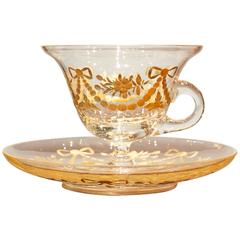 French Glass Cup and Saucer