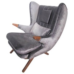 Svend Skipper Dark Grey Velvet Lounge Chair with Teak Armrests