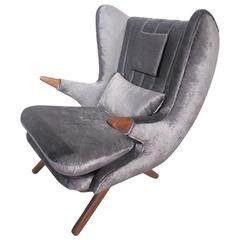 Svend Skipper Lounge Chair with Teak Armrests and Dark Grey Velvet Upholstery