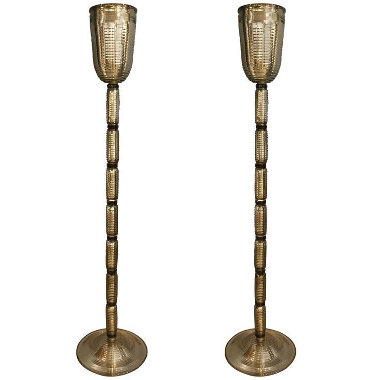 Pair of Gold Murano Glass Floor Lamps