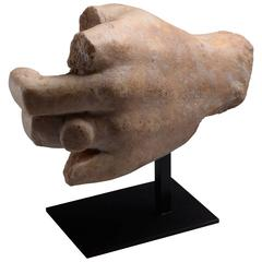 Ancient Roman Marble Hand Wearing Ring, 150 AD