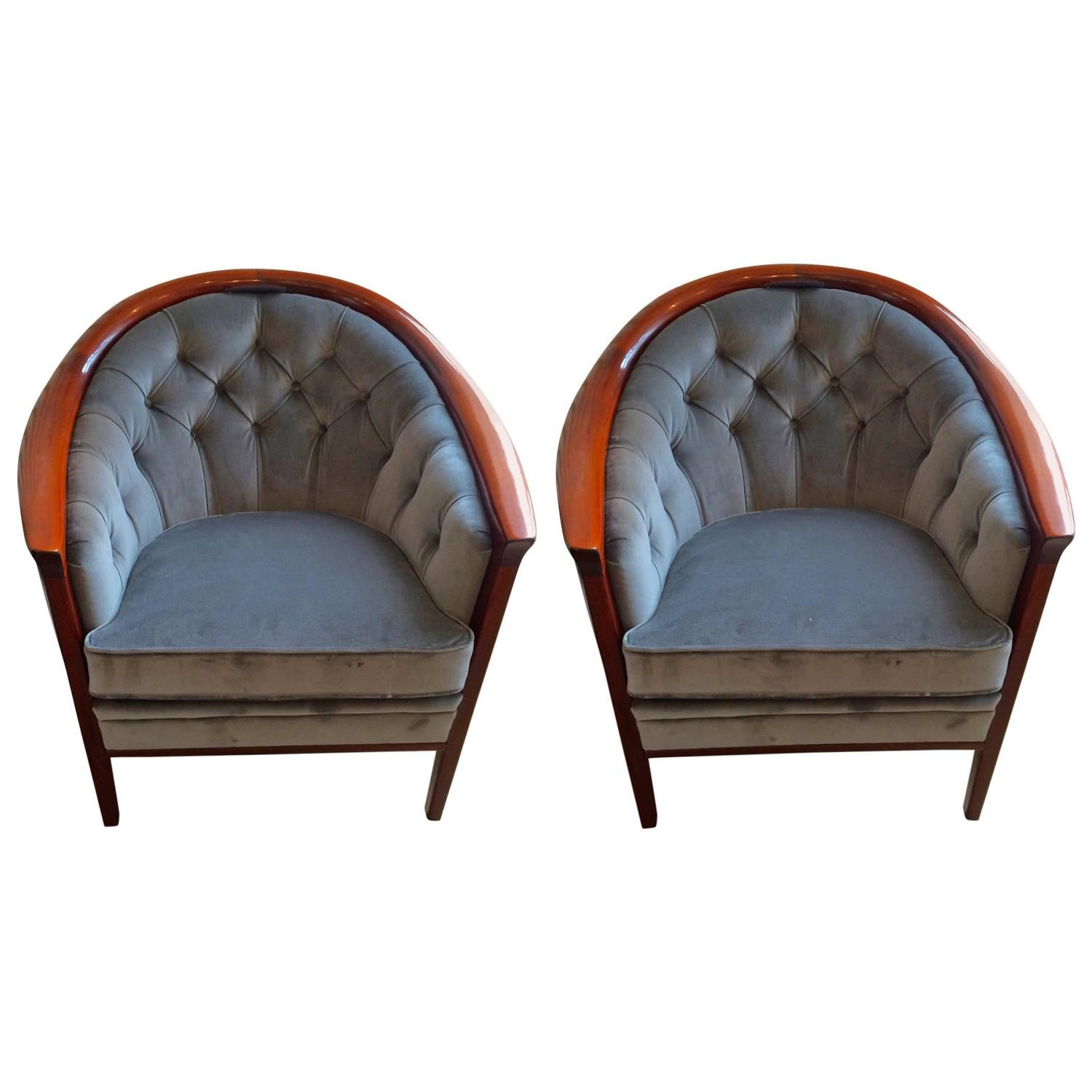 Pair of swedish modern wood tub chairs by bertil fridhagen