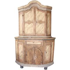 Swedish Painted Wood Corner Cupboard, 18th Century