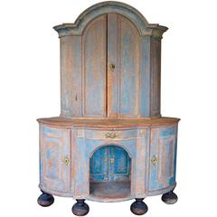 Swedish Painted Wood Corner Cupboard, Late 18th Century
