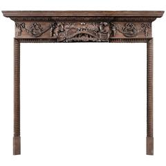 Early 19th Century Pine Fireplace Featuring Aesop's Fable