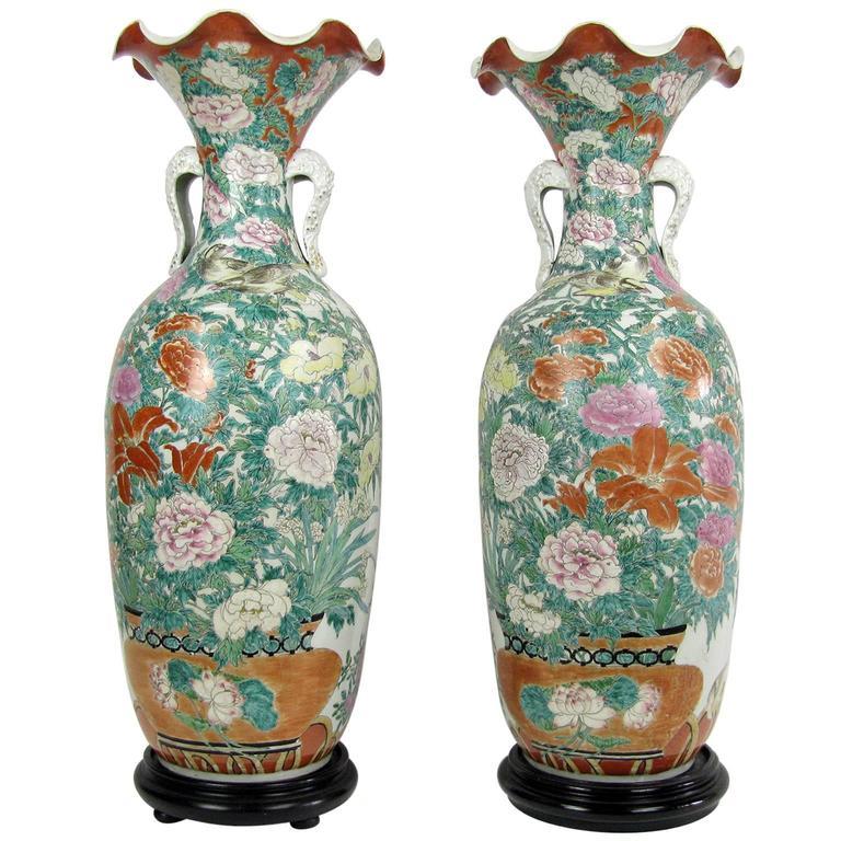 Pair Of Large Japanese Porcelain Vases 19th Century Kutani Style For