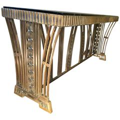 Incredible Modernist Bronze Art Deco Console Table by Edgar Brandt