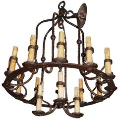 Unusual Bell Shaped Iron Chandelier