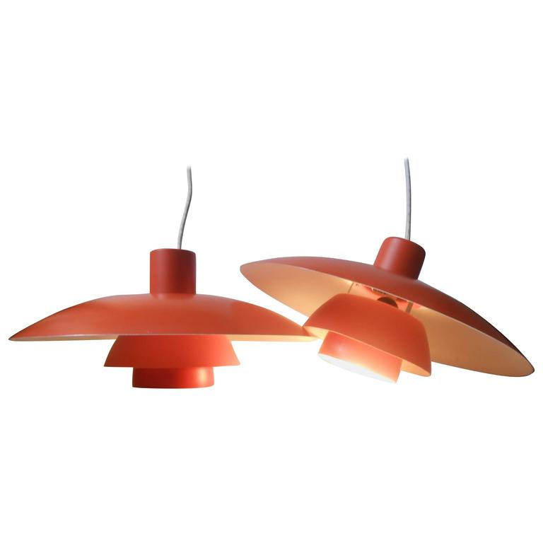 Hanging Lamp Philippines: Pair Of Vintage PH-4/3 Orange Pendant Lamps By Poul