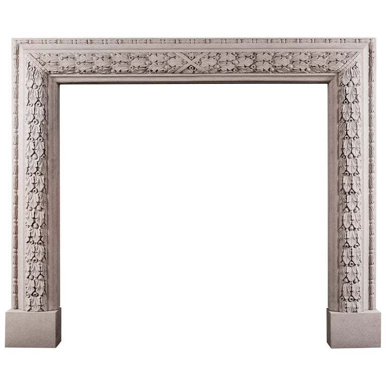 Elegant Carved Bolection Fireplace in Portland Stone