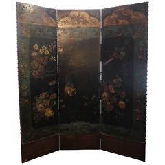 Three-Fold Chinoiserie Leather Screen