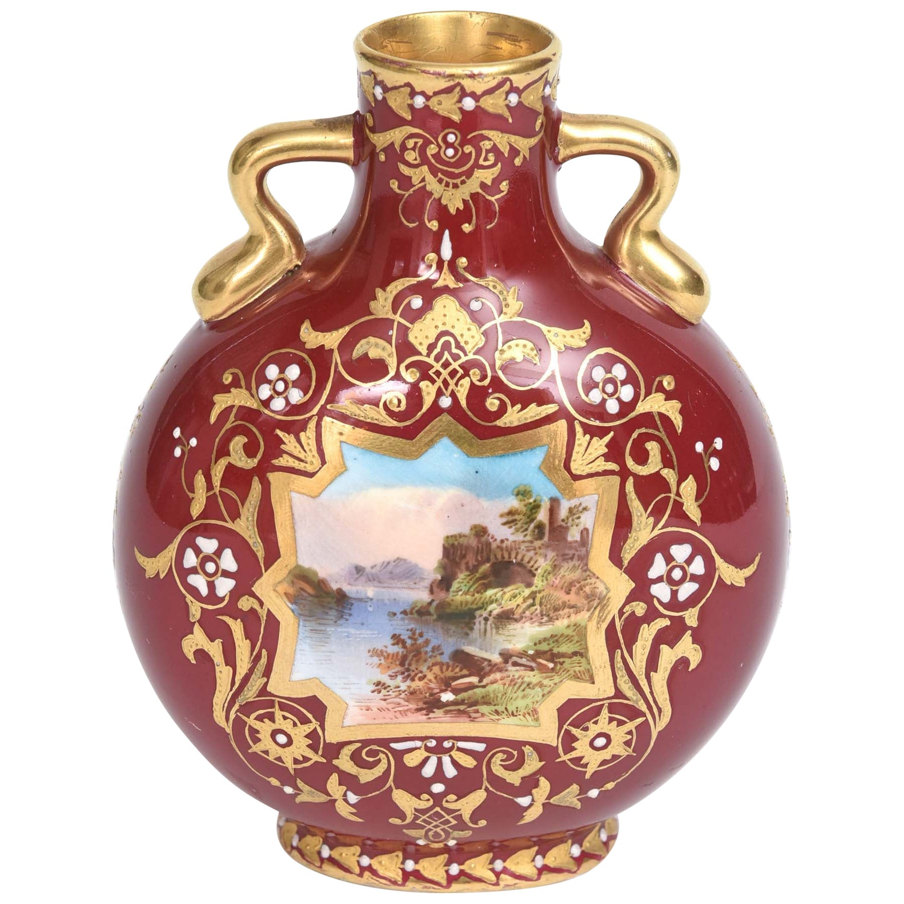 Antique Vase Coalport England Hand Painted with Jeweling and Raised Gilt