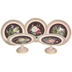 Rare Meissen Fine Porcelain Cabinet Pieces. Hand-Painted Botanicals, Reticulated