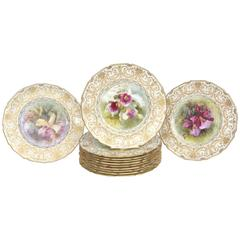 Magnificent Set of 12 Orchid Presentation Plates, Ornate and Elaborately Gilded