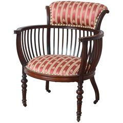 Antique Barrel Back Occasional Chair, Finely Carved with Great Detail