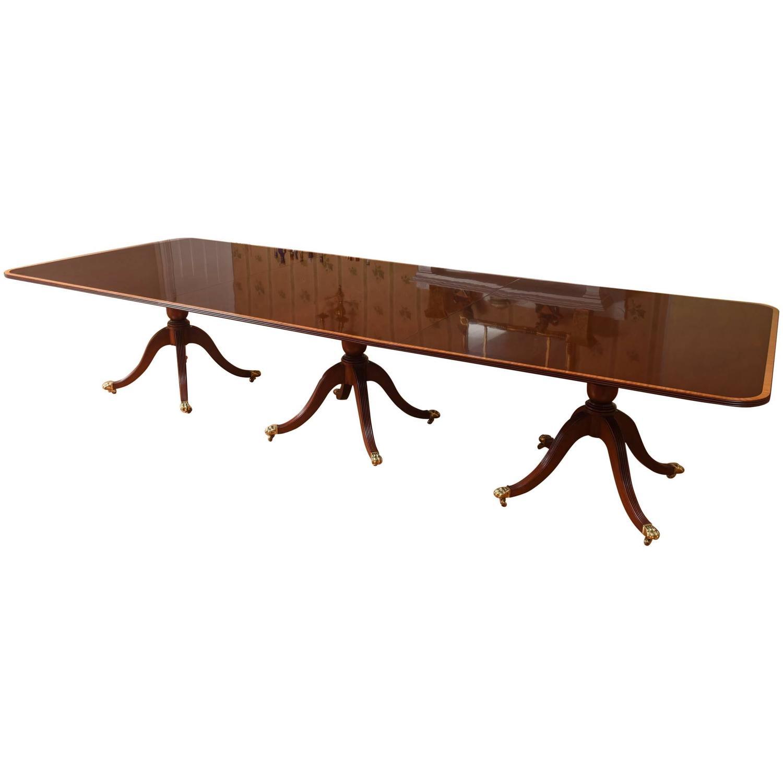 Impressive Long Solid Mahogany Dining Room Table Triple Pedestal Inlaid Ban