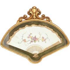 Antique Decorative Wall Object, Porcelain Fan in Custom Green Velour Shadow Case