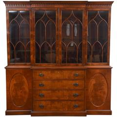 Massive Custom Semi Antique Breakfront Cabinet Mahogany Inlaid with Great Detail