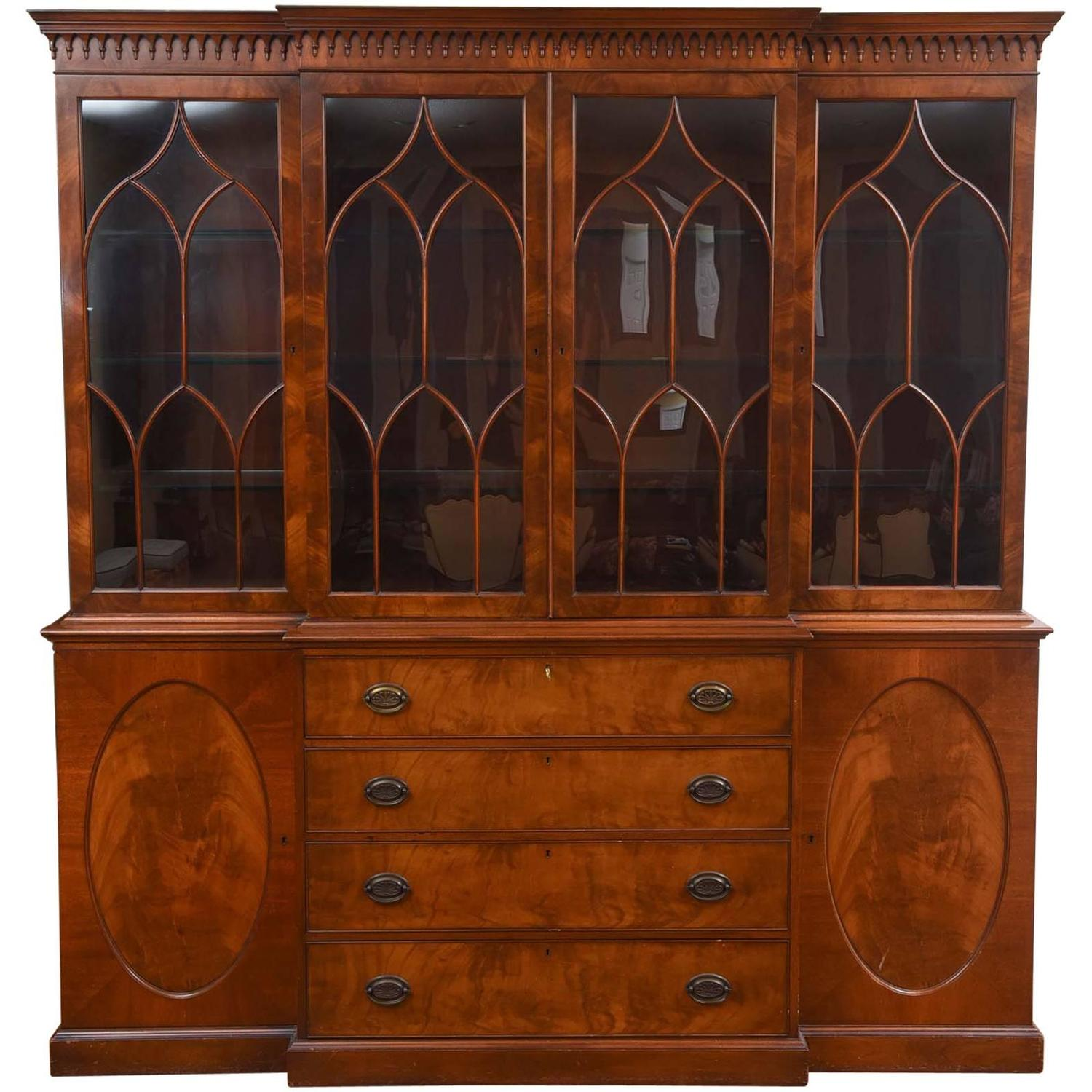 Massive Custom Semi Antique Breakfront Cabinet Mahogany Inlaid with Great  Detail For Sale at 1stdibs - Massive Custom Semi Antique Breakfront Cabinet Mahogany Inlaid
