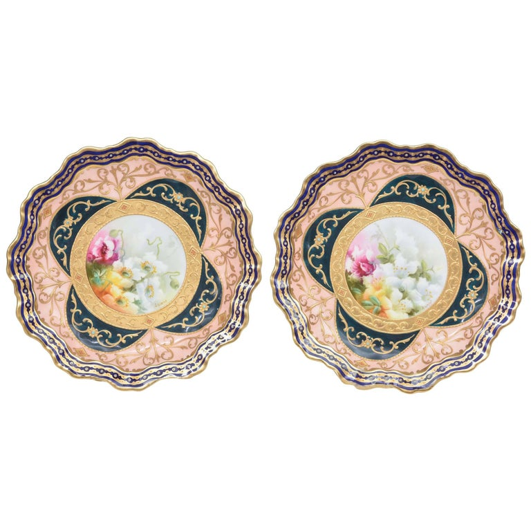 Exquisite and Elaborate Cabinet or Display Plates Pair, Fine Art Gilt Encrusted For Sale